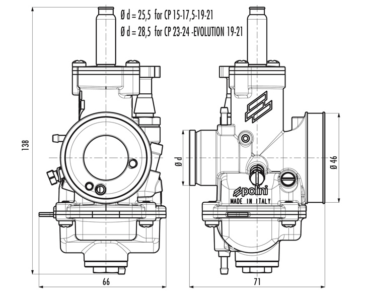 Tarature carburatore CP - CP Carburetor Calibrations - Tarages Carburateur Cp - Calibraciones Carburadores Cp